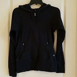 ALO black long sleeve zip up hoodie size small